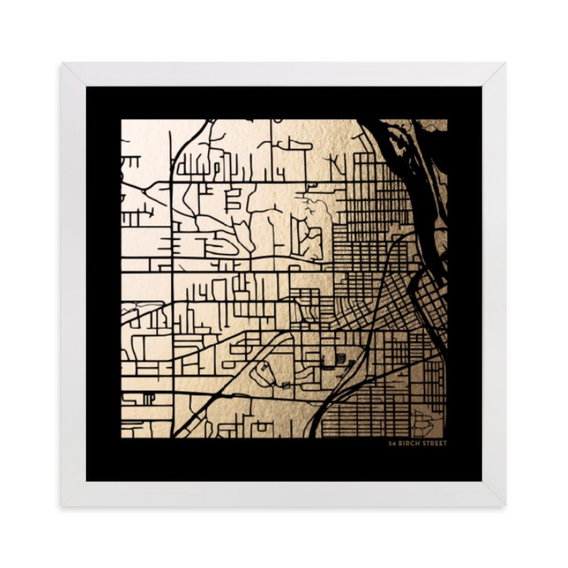 This is a black custom map printing by Minted called Custom Map Filled Foil Art on Dark Paper with foil-pressed.
