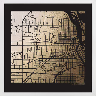 Custom Map Filled Foil Art on Dark Paper Custom Map Foil Art