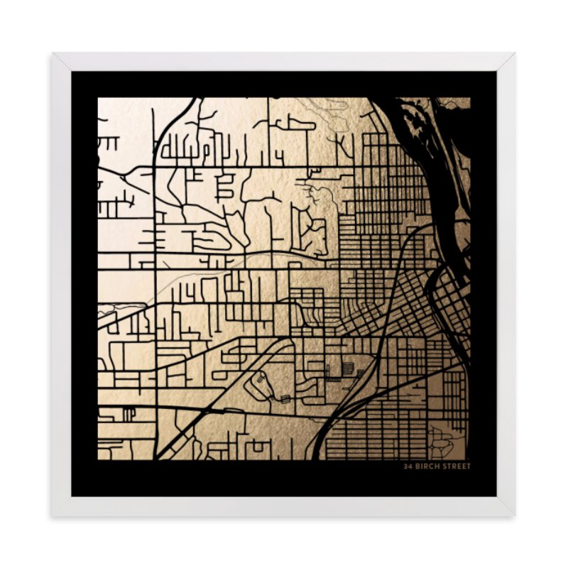 This is a black custom map printing by Minted called Custom Map Filled Foil Art on Dark Paper.