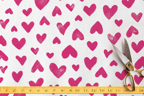 Handstamped Hearts Fabric