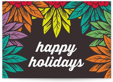 happy holidays, berries and leaves Self-Launch Cards