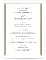 This is a black and white menu card by Kimberly FitzSimons called Eloquence with foil-pressed printing on signature in standard.