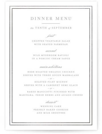 This is a portrait classical, traditional, silver, black and white Menus by Kimberly FitzSimons called Eloquence with Foil Pressed printing on Signature in Classic Flat Card format. Give guests a sneak peek of the meal to come with a beautiful ...