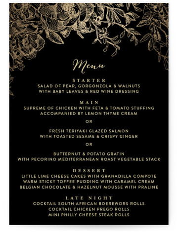 This is a portrait floral, hand drawn, black, gold Menus by Phrosne Ras called Engraved Flowers with Foil Pressed printing on Signature in Classic Flat Card format. Give guests a sneak peek of the meal to come with a beautiful ...
