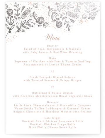 This is a portrait floral, pink, silver Menus by Phrosne Ras called The Wedding Bouquet with Foil Pressed printing on Signature in Classic Flat Card format. Give guests a sneak peek of the meal to come with a beautiful foil ...
