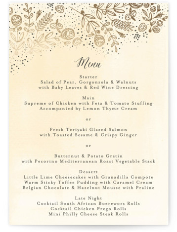 This is a portrait floral, yellow, beige, gold Menus by Phrosne Ras called The Wedding Bouquet with Foil Pressed printing on Signature in Classic Flat Card format. Give guests a sneak peek of the meal to come with a beautiful ...