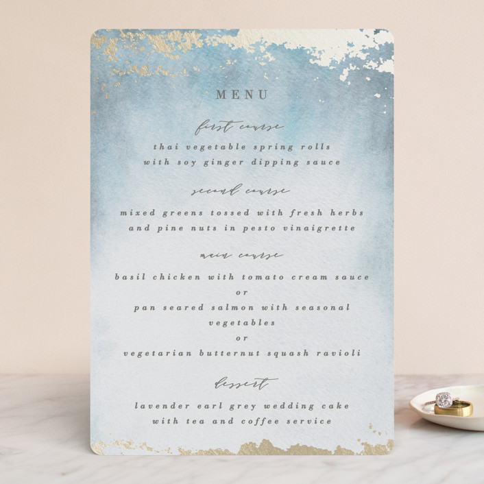 """Ethereal Wash"" - Bohemian Foil-pressed Menus in Ocean by Everett Paper Goods."