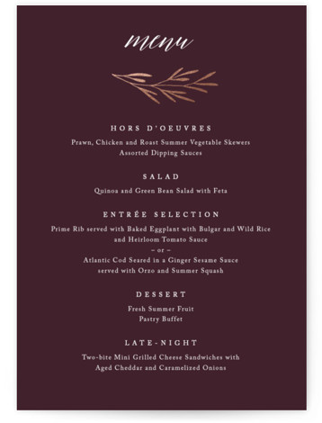 This is a purple, rosegold Menus by Kelly Schmidt called Gilded Leaves with Foil Pressed printing on Signature in Classic Flat Card format. Give guests a sneak peek of the meal to come with a beautiful foil pressed menu, hand ...