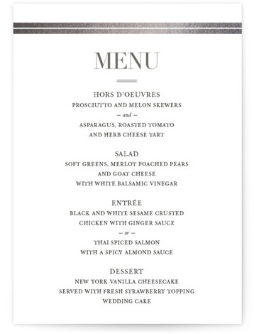 This is a portrait classic and formal, silver Menus by Stacey Meacham called Gilded Frame with Foil Pressed printing on Signature in Classic Flat Card format. Give guests a sneak peek of the meal to come with a beautiful foil ...