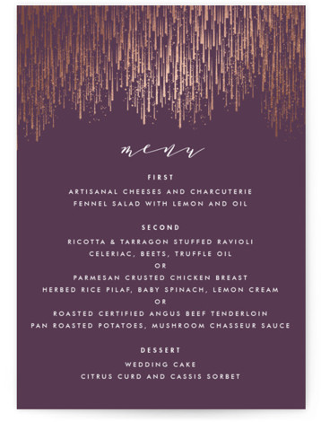 This is a portrait purple Menus by Kristie Kern called Sparkle + Shine with Foil Pressed printing on Signature in Classic Flat Card format. Give guests a sneak peek of the meal to come with a beautiful foil pressed menu, ...
