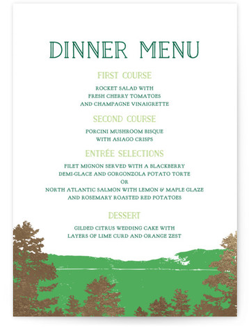 This is a portrait destination, rustic, green Menus by Ariel Rutland called Mountain View with Foil Pressed printing on Signature in Classic Flat Card format. Give guests a sneak peek of the meal to come with a beautiful foil pressed ...