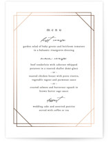 This is a white menu card by Carly Reed Walker called Isabella with foil-pressed printing on signature in standard.