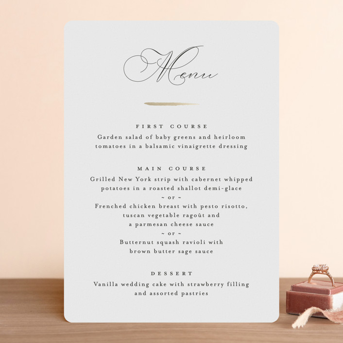 """""""Gilded Edge"""" - Foil-pressed Menus in Tuxedo by Pink House Press."""