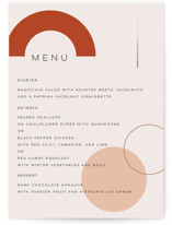 This is a orange menu card by Morgan Kendall called Bauhaus Shapes with foil-pressed printing on signature in standard.