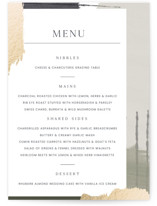 This is a green menu card by Blustery August called Textural with foil-pressed printing on signature in standard.