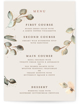 This is a beige menu card by Petra Kern called Serena with foil-pressed printing on signature in standard.