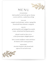 This is a white menu card by Carolyn Nicks called endearing with foil-pressed printing on signature in standard.