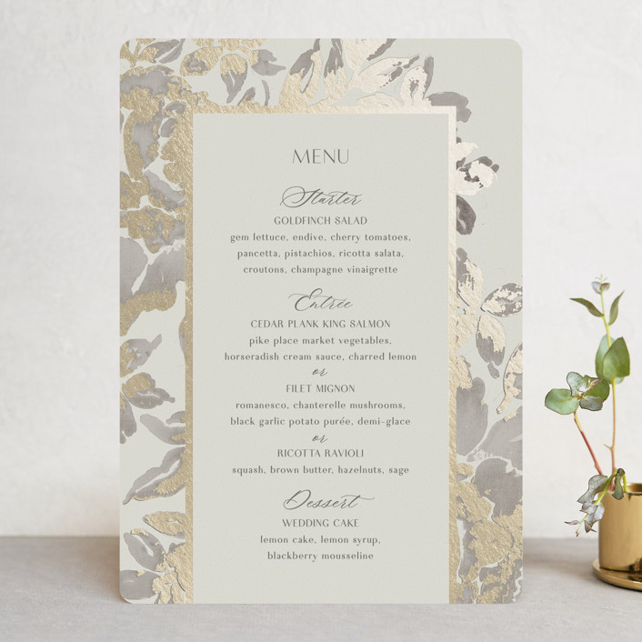 """""""Wedding Royale"""" - Foil-pressed Menus in Ivory by Chris Griffith."""