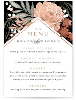 This is a black menu card by Alethea and Ruth called Peony Crush with foil-pressed printing on signature in standard.