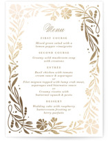 This is a white menu card by Kristen Smith called Jasmine with foil-pressed printing on signature in standard.