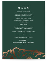 This is a green menu card by Amy Payne called Snowcapped with foil-pressed printing on signature in standard.