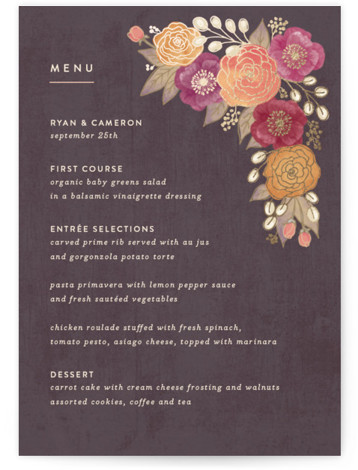 This is a portrait botanical, rustic, brown Menus by Hooray Creative called Autumn Florals with Foil Pressed printing on Signature in Classic Flat Card format. Give guests a sneak peek of the meal to come with a beautiful foil pressed ...