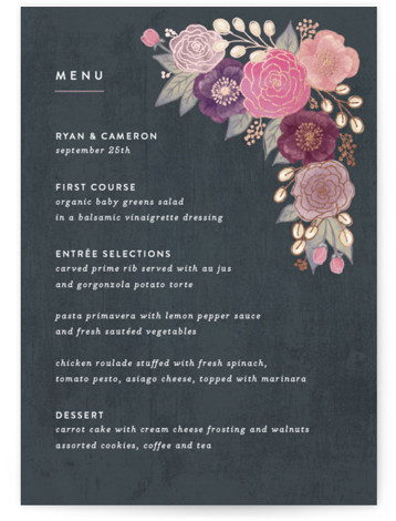 This is a portrait botanical, rustic, grey Menus by Hooray Creative called Autumn Florals with Foil Pressed printing on Signature in Classic Flat Card format. Give guests a sneak peek of the meal to come with a beautiful foil pressed ...