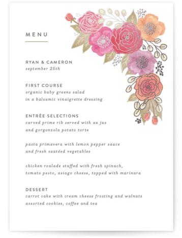 This is a portrait botanical, rustic, white Menus by Hooray Creative called Autumn Florals with Foil Pressed printing on Signature in Classic Flat Card format. Give guests a sneak peek of the meal to come with a beautiful foil pressed ...