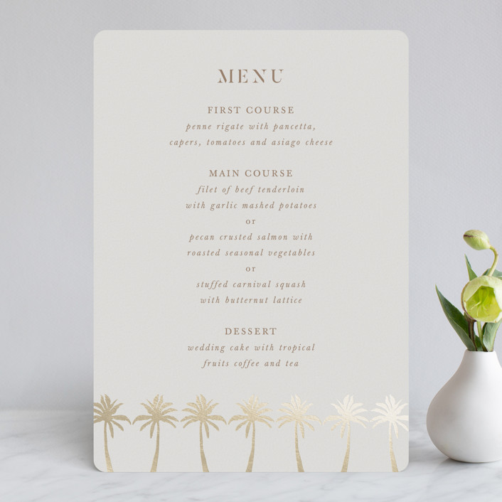 """""""Sunset by the Sea"""" - Foil-pressed Menus in Tan by lulu and isabelle."""