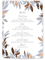 This is a purple menu card by Chris Griffith called Moody Flora with foil-pressed printing on signature in standard.