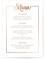 This is a brown menu card by Emily Skinner called Sweet Adventure with foil-pressed printing on signature in standard.