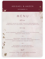 This is a red menu card by Lucrecia called Warm Love with foil-pressed printing on signature in standard.