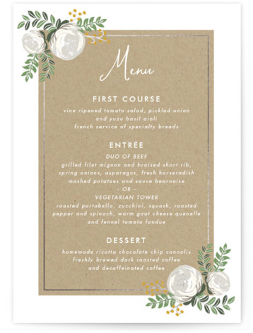 This is a portrait floral, yellow Menus by Lehan Veenker called Krafted Florals with Foil Pressed printing on Signature in Classic Flat Card format. Give guests a sneak peek of the meal to come with a beautiful foil pressed menu, ...