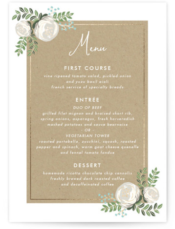 This is a portrait floral, blue Menus by Lehan Veenker called Krafted Florals with Foil Pressed printing on Signature in Classic Flat Card format. Give guests a sneak peek of the meal to come with a beautiful foil pressed menu, ...