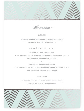 This is a portrait geometric, vintage, blue, silver Menus by Jennifer Postorino called Grandiose with Foil Pressed printing on Signature in Classic Flat Card format. Give guests a sneak peek of the meal to come with a beautiful foil pressed ...