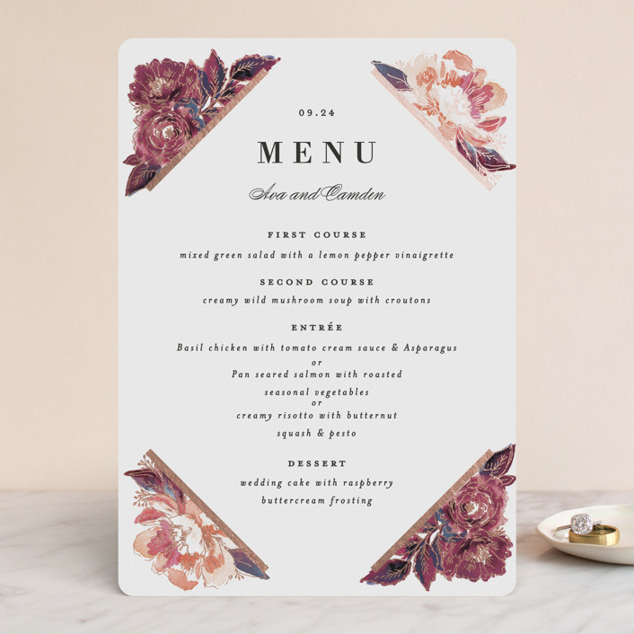 """""""Painted Peony Corners"""" - Foil-pressed Menus in Burnt Rose by Alethea and Ruth."""