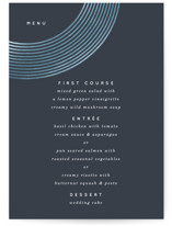 This is a blue menu card by Baumbirdy called Banded Arch with foil-pressed printing on signature in standard.