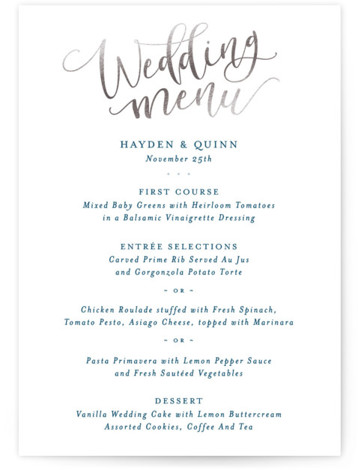 This is a portrait whimsical, silver Menus by Hooray Creative called Celebration Script with Foil Pressed printing on Signature in Classic Flat Card format. Give guests a sneak peek of the meal to come with a beautiful foil pressed menu, ...