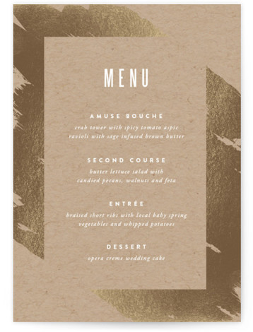 This is a portrait bold and typographic, brown, gold Menus by Carrie ONeal called Gilded with Foil Pressed printing on Signature in Classic Flat Card format. Give guests a sneak peek of the meal to come with a beautiful foil ...