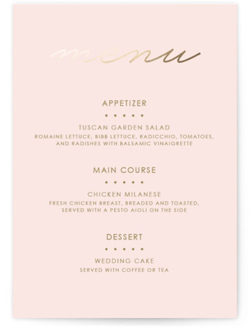 This is a portrait illustrative, pink, white, gold Menus by Kim Dietrich Elam called Love Lasso with Foil Pressed printing on Signature in Classic Flat Card format. Give guests a sneak peek of the meal to come with a beautiful ...