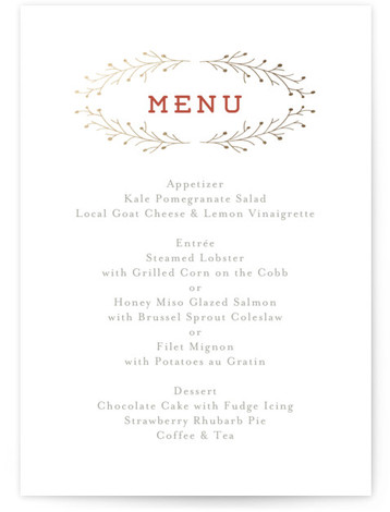 This is a portrait elegant, rustic, red, gold Menus by Grace Cobb called Wanderlust Wreath with Foil Pressed printing on Signature in Classic Flat Card format. Give guests a sneak peek of the meal to come with a beautiful foil ...