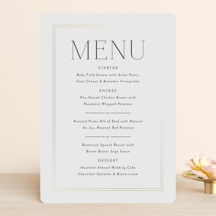 """""""Aligned"""" - Foil-pressed Menus in Purity by Susan Asbill."""