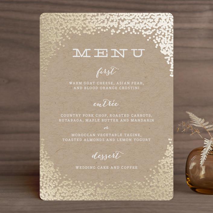 """Gold Rush"" - Elegant, Whimsical & Funny Foil-pressed Menus in Kraft by Annie Clark."