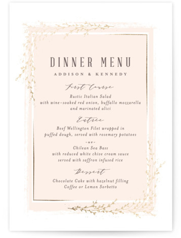 This is a pink, silver Menus by chocomocacino called positano with Foil Pressed printing on Signature in Classic Flat Card format. Classic and elegant invite, inspired by falling foliage that is perfect for outdoor party