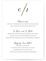 This is a gold menu card by Red Door Design called Minimalist Brush with foil-pressed printing on signature in standard.