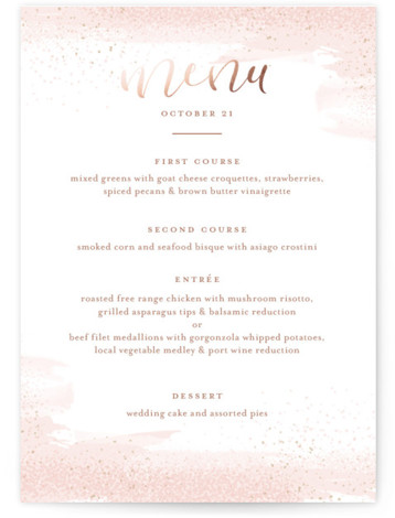 This is a portrait painterly, pink Menus by Jessica Williams called Wisp with Foil Pressed printing on Signature in Classic Flat Card format. Give guests a sneak peek of the meal to come with a beautiful foil pressed menu, hand ...