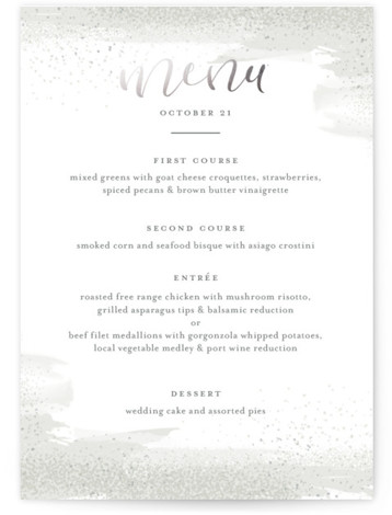 This is a portrait painterly, grey Menus by Jessica Williams called Wisp with Foil Pressed printing on Signature in Classic Flat Card format. Give guests a sneak peek of the meal to come with a beautiful foil pressed menu, hand ...