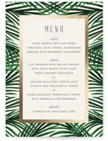This is a beige menu card by Elly called Tropical Love with foil-pressed printing on signature in standard.