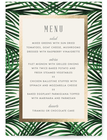 This is a portrait botanical, gold Menus by Elly called Tropical Love with Foil Pressed printing on Signature in Classic Flat Card format. Give guests a sneak peek of the meal to come with a beautiful foil pressed menu, hand ...
