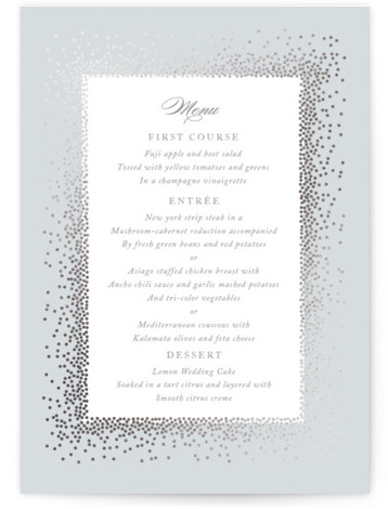 This is a blue, grey, silver Menus by Jennifer Postorino called Love Story with Foil Pressed printing on Signature in Classic Flat Card format. This wedding invitation is sweet and delightful. The delicate foiled flecks make a beautiful frame around ...